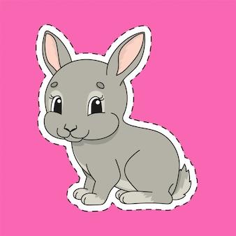 Sticker met contour. konijn konijn. stripfiguur.