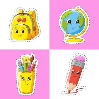 Sticker met contour stripfiguur terug naar school thema