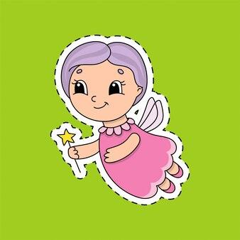 Sticker met een schattig karakter.