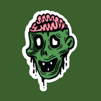 Sticker met halloween van het zombie de hoofdkarakter