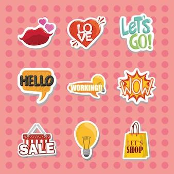 Sticker met lippen hart tekstballonnen vectorillustratie instellen