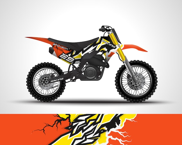 Sticker met motorcross wrap en vinyl sticker