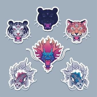 Sticker met mythische dierenkunstwerken
