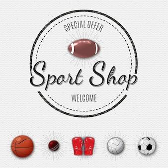 Sticker met sportwinkel
