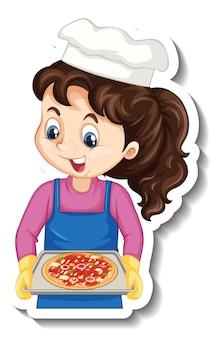 Sticker met stripfiguur met chef-kokmeisje die pizzablad vasthoudt Gratis Vector