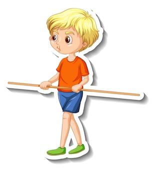 Sticker met stripfiguur met een jongen die een houten stok vasthoudt
