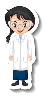 Sticker met stripfiguur met een meisje in wetenschapsjurk