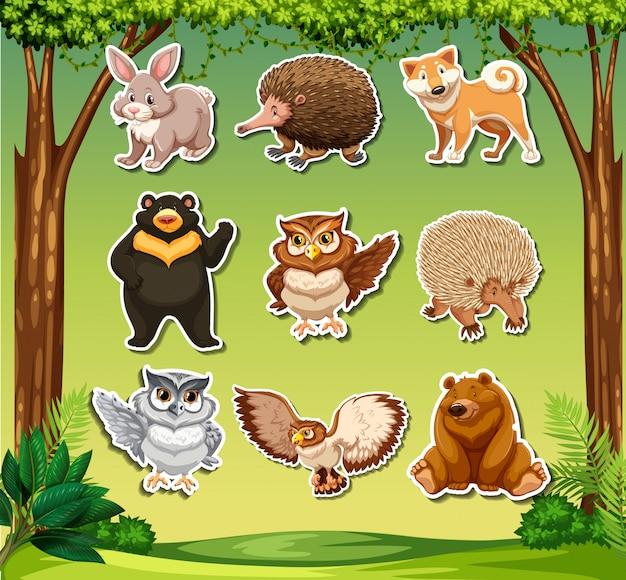 Sticker met wild diertjes tehmplate
