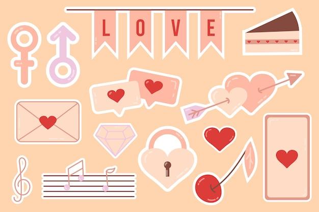 Sticker. mooie liefdesstickers. romantische objecten voor planner en organisator. wekelijkse zweefvliegtuig. voor social media, webdesign, mobile messaging, social media, online communicatie, ansichtkaarten en print.