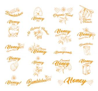 Sticker of etiketten met bijen voor honingcontainer