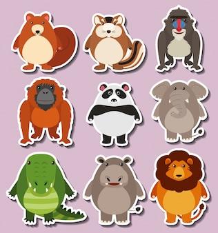 Sticker ontwerp met schattige dieren