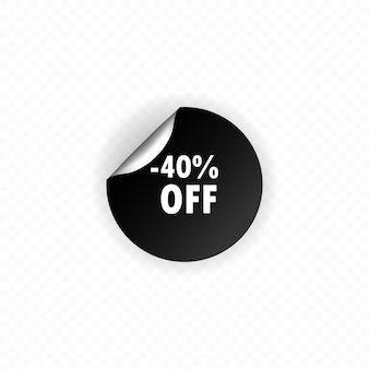 Sticker op witte achtergrond, tot 40 procent korting. 40 procent korting op het label. zwarte cirkel label, sticker, tag, banner. . vector platte cartoon afbeelding voor websites.