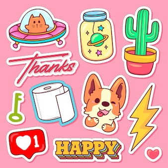 Sticker pictogrammen hand getrokken doodle