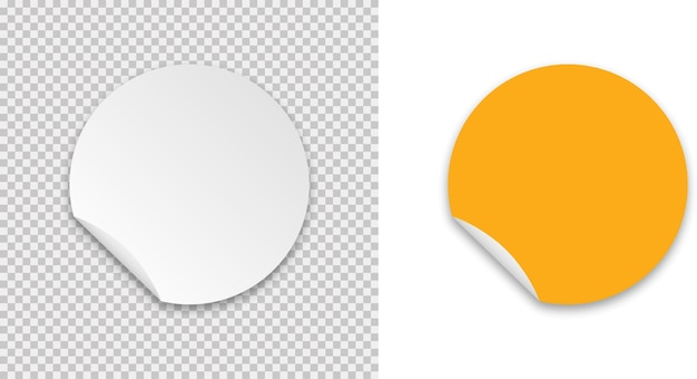 Sticker realistische sjabloon met sticker op transparant