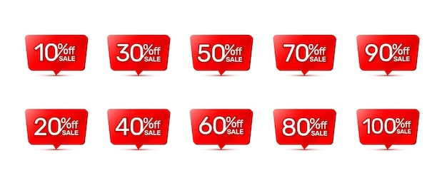 Sticker rode banner, afhaling met aandeel kortingspercentage. vector illustratie