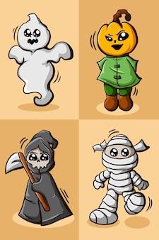 Sticker set karakter halloween illustratie