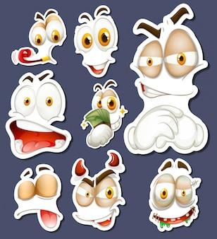 Sticker set met verschillende gezichtsuitdrukkingen