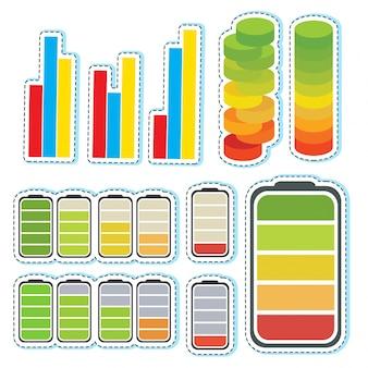 Sticker set met verschillende niveaus van bars