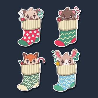 Sticker set van schattige dieren in kousen