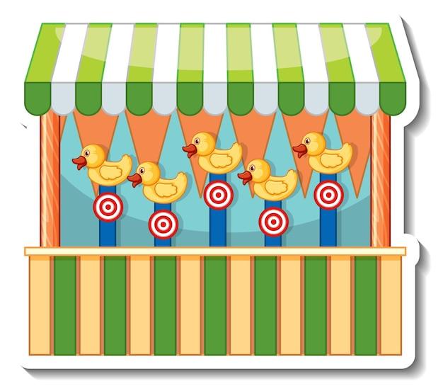 Sticker sjabloon met dart game winkel voorkant geïsoleerd