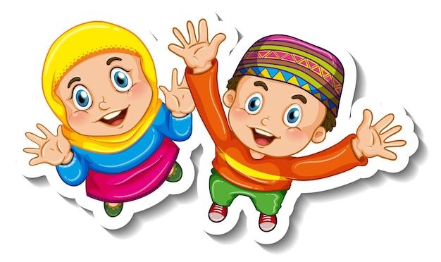 Sticker sjabloon met paar moslim kinderen stripfiguur geïsoleerd