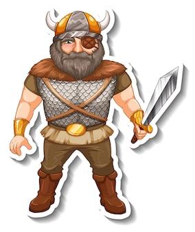 Sticker sjabloon met viking krijger stripfiguur geïsoleerd