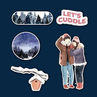 Sticker sjabloon met winter liefde conceptontwerp voor karakter cartoon geïsoleerde aquarel vectorillustratie