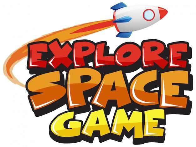 Sticker sjabloon voor woord verkennen ruimte spel