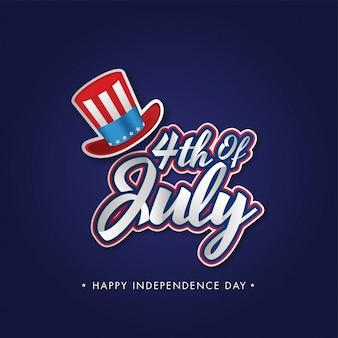 Sticker stijl 4 juli lettertype met uncle sam hat op blauwe achtergrond voor happy independence day concept.