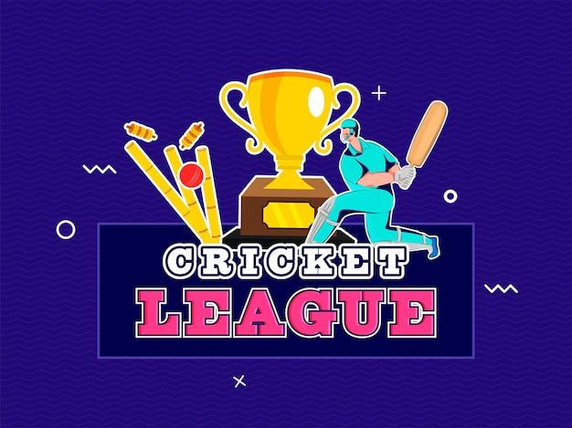Sticker stijl cricket league-tekst met batsman-karakter, bal die wicket en trophy cup op blauwe achtergrond raakt.