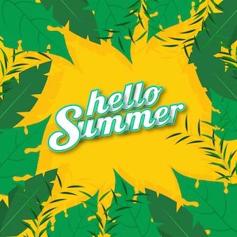 Sticker stijl hallo zomer lettertype op gele achtergrond versierd met groene tropische bladeren.