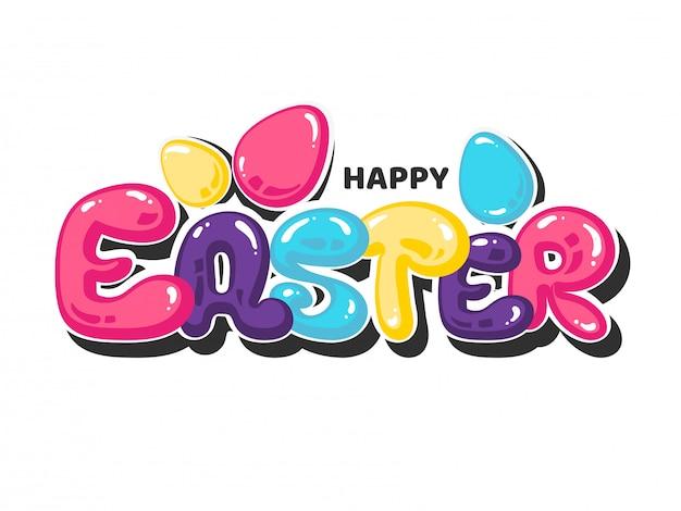 Sticker stijl kleurrijke happy easter-kaart met eieren op wit