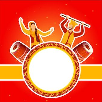 Sticker stijl punjabi paar volksdans uitvoeren met dhol instrumenten