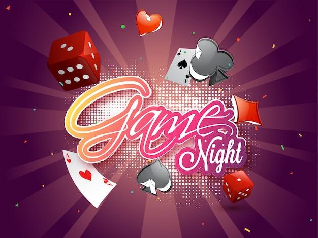 Sticker stijl tekst game night op halftone stralen achtergrond.