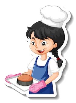 Sticker stripfiguur met bakkersmeisje