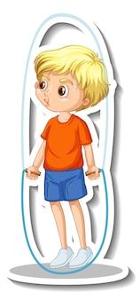 Sticker stripfiguur met een jongen die touwtje springt