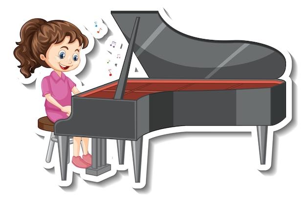 Sticker stripfiguur met een meisje dat piano speelt