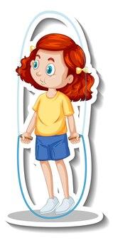 Sticker stripfiguur met een meisje springtouw