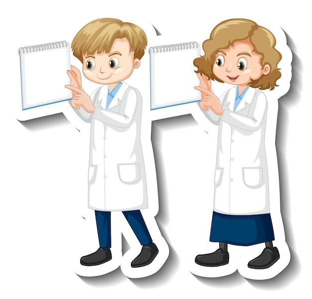 Sticker stripfiguur met kinderen in wetenschapsjurk
