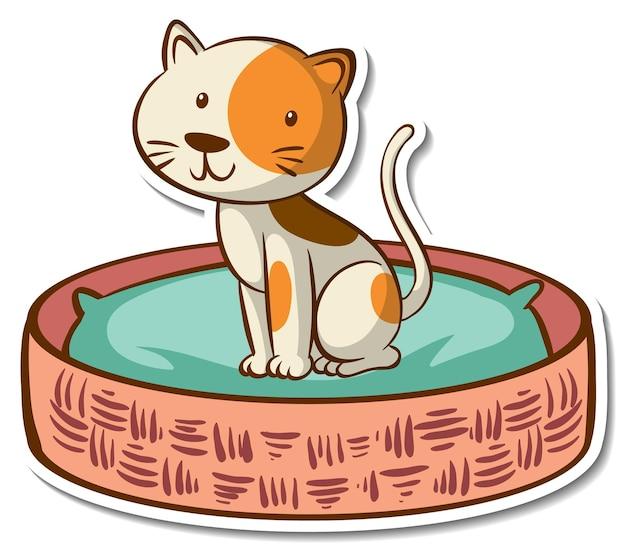 Sticker stripfiguur van een kat in mand bed