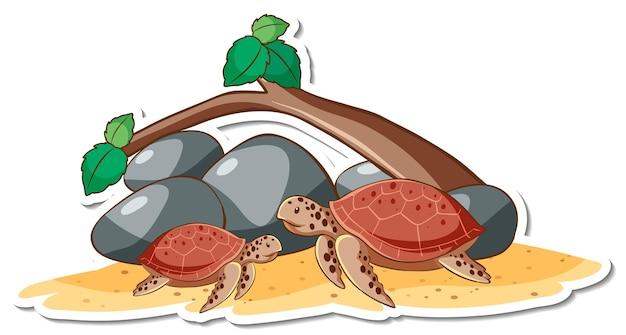Sticker stripfiguur van zeeschildpadden