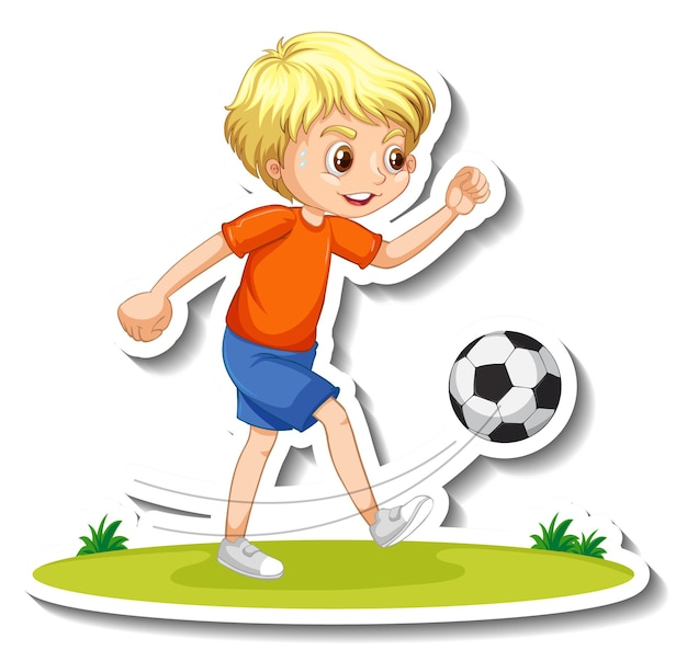 Sticker van een stripfiguur met een jongen die voetbalt