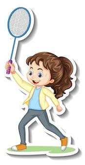 Sticker van een stripfiguur met een meisje dat badminton speelt