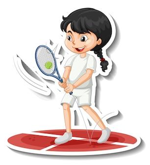 Sticker van een stripfiguur met een meisje dat tennis speelt