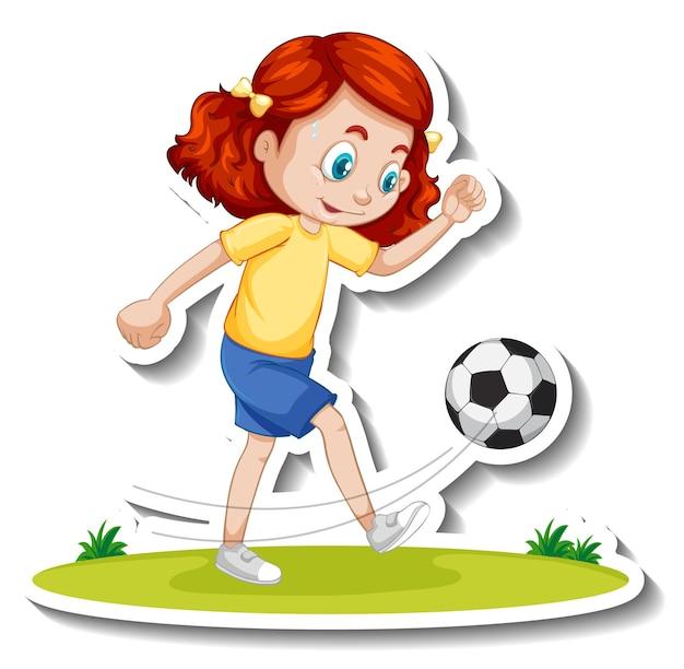 Sticker van een stripfiguur met een meisje dat voetbalt