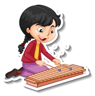 Sticker van een stripfiguur met een meisje dat xylofoon speelt