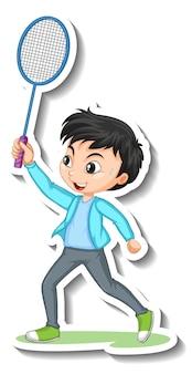Sticker van stripfiguur met een jongen die badminton speelt