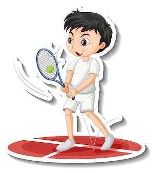 Sticker van stripfiguur met een jongen die tennis speelt