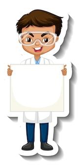 Sticker van stripfiguur met een jongen in een wetenschappelijke jurk met lege banner