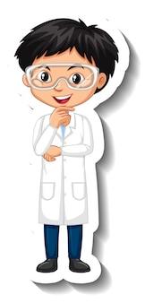 Sticker van stripfiguur met een jongen in een wetenschapsjurk